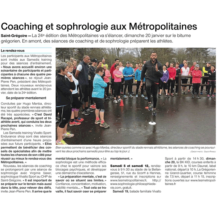Article Ouest-France Coaching et sophrologie aux Metropolitaines